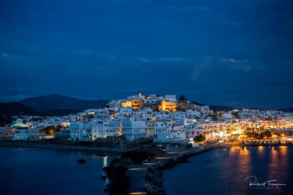 Naxos Town from the Portara by Night - Naxos, Greece