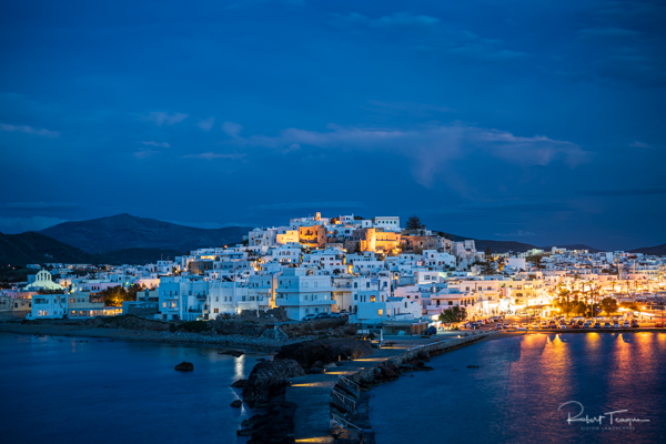 Naxos Town from the Portara by Night